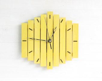 Yellow Clock, Wall Clock, Steampunk Clock, Wood Clock, Hanging Clock, Geometric Decor, Industrial Clock, Office Clock, Home Decor, Romb I