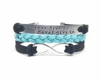 NEVER GIVE UP Never Give In Bracelet   Hand Stamped Inspirational Bracelet   Motivational Bracelet   Encouragement Jewelry   Keep Going