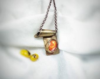 Antique Brass*Cabochon*Torch Fire Patina*Handmade