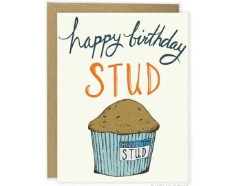 Boyfriend Birthday Card, Stud Muffin Card, Food Pun Card, Husband Birthday Card, Funny Birthday Card For Him, Card For Boyfriend, Foodie