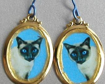 SIAMESE CAT  Love Earrings