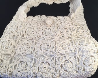 White Crocheted Handbag with Sequence, Fully Lined with 2 Inside Pockets, One Zipper, Button Closure, Very Roomy with Strap
