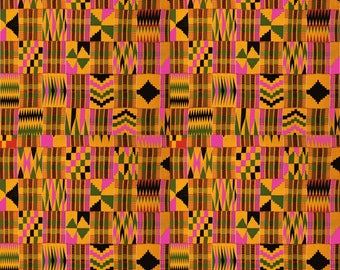 "4 Pack Of Smaller Scale 6""x6"" Pieces - Serengeti Kente Cloth Premium Patterned Vinyl Vibrant Vinyl™ - Pink, Kente Vinyl, Adhesive Vinyl, HTV"