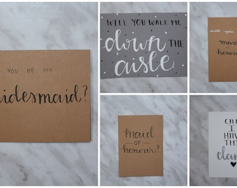 Hand Lettered Wedding Proposal Greeting Cards