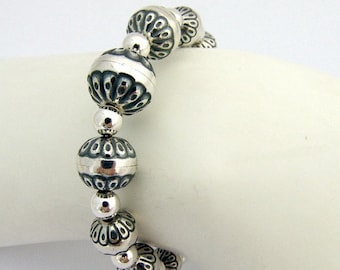 SaLe! sALe! Beaded Bracelet Sterling Silver