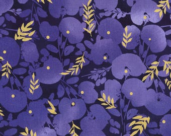 BTY Kathy Davis SCATTERJOY Plum Floral on Navy with Metallic Gold Print 100% Cotton Quilt Crafting Fabric by the Yard