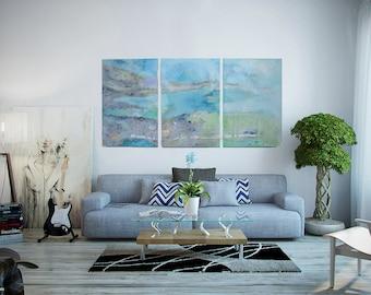 Ocean Artwork, Seascape Painting 3 Panels Acrylic on Wood Glassed, Modern Art, Beach Painting, Contemporary Art, Water Paintings, Ocean Art