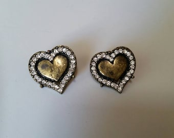 Bronze and Zirconia Heart Earrings
