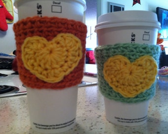 Coffee Cup Cozy- Coral or Mint Green with Yellow Heart