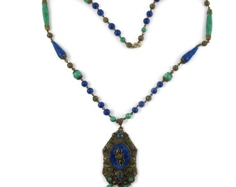 Vintage Circa 1930's Chec Crystal and Glass Pendant Necklace