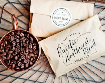 Wedding Favor Coffee Bag - Pacific Northwest Blend - Oregon Coffee Favors - Portland Wedding  - 20 Bags