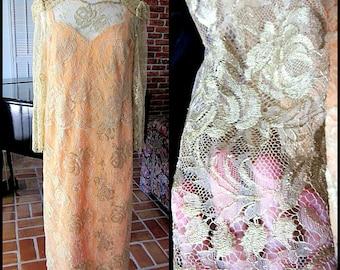 PAT CROWLEY Dress / Gold lace dress / Irish Lace Dress / Vintage Gold Lace and Peach silk Dress / fits S-M / Pat Crowley Ireland