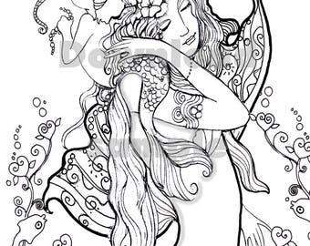 Mother and Baby Mermaids, Coloring Page