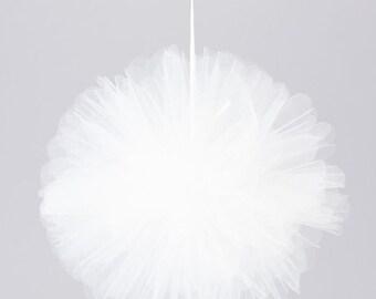 """12"""" Tulle flower ball White"""