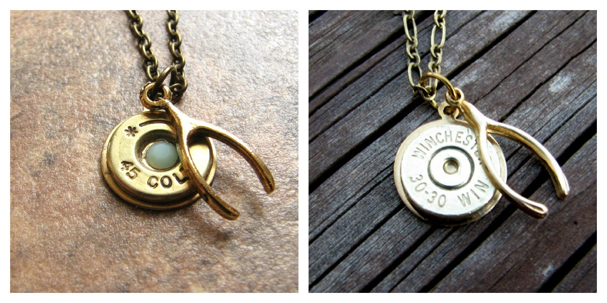 Lucky shot necklace wishbone bullet necklace bullet zoom aloadofball