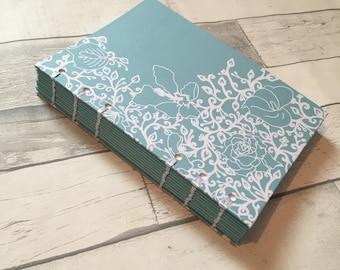 Hand Bound Notebook in Original Teal Floral Design  // Handbound Book // Stationery // gifts for women // Bullet Journal // Notebook