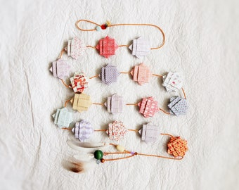 Elegant fabric Garland macaroon in pastel colors