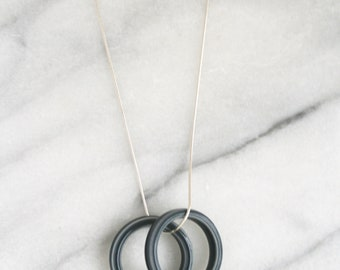 Blue ceramic sterling silver pendant necklace // circle pendant // minimalist necklace // geometric jewelry // gift for her / mothers day
