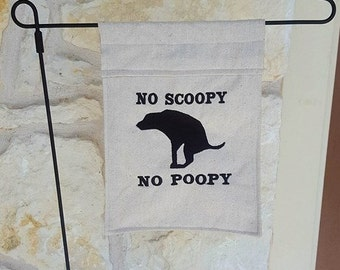Embroidered Garden Flag No Dog Poop Sign