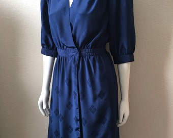 Vintage Women's 80's Wrap Dress, Navy Blue, Polyester, 3/4 Sleeve (M)