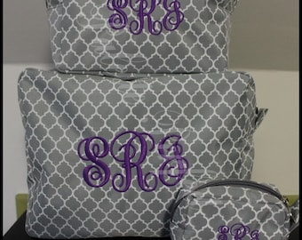 Embroidered Toiletry Bag Set, Personalized Makeup Bag Set, Customized Cosmetic Bag Set, Monogrammed Makeup Bag Set, Custom Cosmetic Bag Set