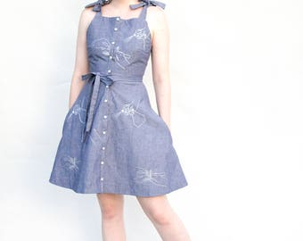 Gardener Print Dress - Chambray - One of a kind