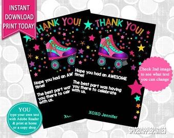 Thank You Card   roller Skating, Roller Skate, Thank You, Thank You Cards, Thank You Notes, Party Thank You Card, Birthday Thank You Note