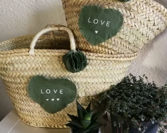 New! Pair of khaki message heart baskets love, like mother like daughter, the hearty