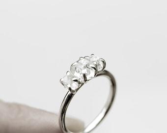 Three - herkimer diamonds silver ring - natural herkimer diamonds sterling silver ring - unique engagement ring