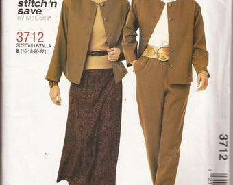 Stitch N Save by McCalls 3712 Misses Jacket, Pull-On Bias Skirt and Pull-On Pants Size B 16,18,20,22. Circa 2002
