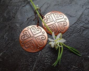 copper earrings, Boho earrings, copper jewelry, round copper earrings, disk earrings,Hanging round Earrings