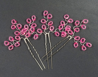 Pink hair pins, prom party hair pins up-do accessories, fuschia hair accessories, crystal hair pins, hot pink bright pink magenta raspberry