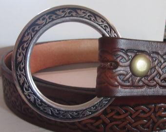 Customizable 1 1/2 inch, Celtic Braid Design Leather Ring Belt, Medieval, Renaissance, SCA, Fantasy