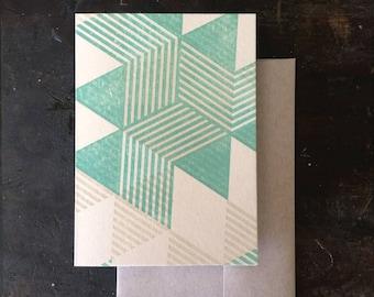 Pyramids Letterpress Notecard - Green and Tan