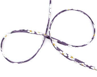 Mitsi R Prune Liberty ribbon in plum purple florals, jewellery making supplies, cotton cord for crafting, gift wrapping