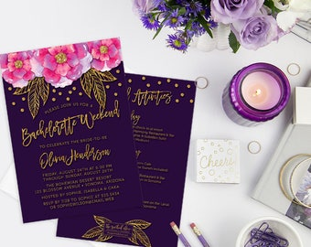 Printed Bachelorette Weekend Invitations, Bachelorette Party Itinerary, Violet Purple Girls Weekend Invites, Bachelorette Party Invites
