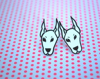Dog Earrings -- Doberman Studs, Doberman Earrings, Doberman Pinscher, Black and White, Unique Earrings, Dog Studs
