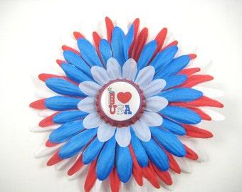 4th of July Hair Bow - Red White Blue Flower Hair Clip - Memorial Day Flower Hair Bow - Patriotic Hair Clip