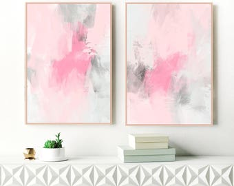 Pink Abstract Art, Set of 2 Dusty Pink and Grey Paintings, 24x36 Blush Pink and Grey Modern Wall Art, Inspiration Abstracts
