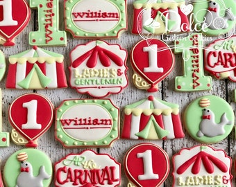 Circus Carnival First Birthday Cookies