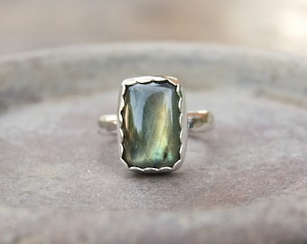 Natural Labradorite Ring. Sterling Silver Ring. Rectangle Labradorite Ring. Labradorite Statement Ring. Labradorite Jewelry *custom made