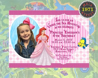 Princess Ariel Little Mermaid Custom Birthday Party Invitation Digital Download PRINTABLE