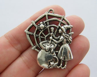 2 Witch charms antique silver tone HC20