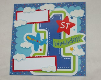 First Birthday Boy Planes Cars Trucks Train Clouds Balloons 12x12 Premade Scrapbook Page by KARI