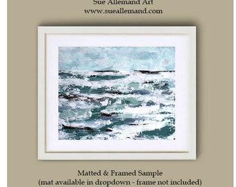 "IN MOTION Art Print 10"" x 8"", Abstract Art by Sue Allemand, Meditation Paintings, Coastal, Ocean, Inspirational Joyful"