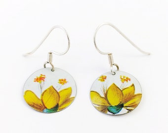 Colorful yellow earrings, Tin jewelry, recycled vintage tin,  mismatched flowers
