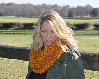 Crochet cowl, Crochet scarf - Butterscotch