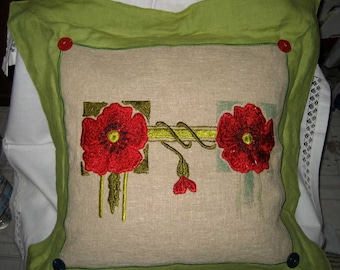 Vintage 1920's Arts & Crafts Embroidered Linen Pillow Down Insert Large
