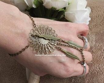 Mandala Dream Catcher Slave Bracelet, hand chain, ring bracelet, Henna Jewelry, Burning Man slave bracelets, Festival Body jewelry, ring