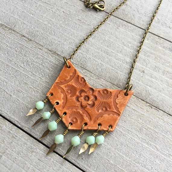 "Boho Chevron Necklace - Tooled Leather on 16"" Chain with Vintage Glass Beads - Southwestern Inspired Bohemian Jewelry"